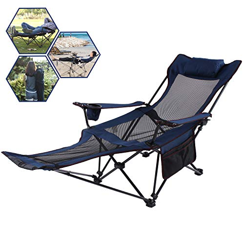 A AIKOOL Camping Recliner Camping Lounge Chair, Backpacking Folding Chair with Headrest, Footrest and Storage Bag for Outdoor Camping, BBQ, 300lbs...