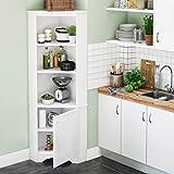 Prepac Elite Corner Storage Cabinet, Tall 1-Door, White