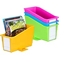 Really Good Stuff Non-Tip Magazine, Book, Folder and File Holders – Book Holders with Large Self-Adhesive Labels – Durable, Won't Fall Over - Neon Colors (Set of 4)