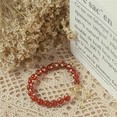 shangwang Red Onyx Pearl Bracelet 14k Gold Wrapped Hand-Made Heavy Bangle Lucky Bracelet Red agate Pearl Bracelet