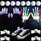 2 LED Gloves LED Shoelaces Sets with 8 Extra Batteries, Flashing Gloves with 6 Modes Flashlight Shoestring Light Up Toy for Boys Girls Christmas Halloween Birthday Party Costume Accessory, White Black