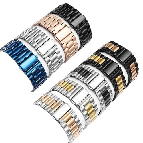 Correa De Pulsera De Metal De Acero Inoxidable Sólido Ultrafino para Apple Watch 38/40/42/44mm, Correa De Repuesto Compatible con Apple Watch Series 6/5/4/3/2/1/SE (42mm-44mm,Black and Pink)