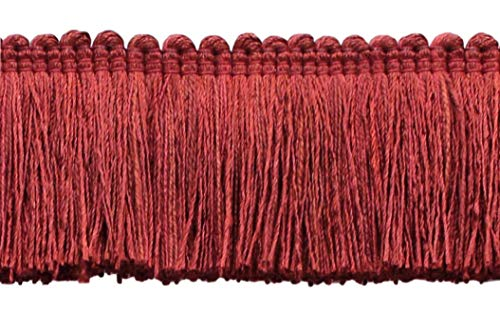 4.6 Meter Value Pack of Veranda Collection 51mm Brush Fringe Trim|Brick Red |Style#: 0200VB |Color: Rusty Brick - VNT22 (15 Ft / 5 Yards)