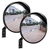 Espejo de tráfico ONVAYA® de 30 cm | Espejo convexo para ver los ángulos muertos | Espejo de seguridad | Espejo de vigilancia | Espejo panorámico | 2 piezas