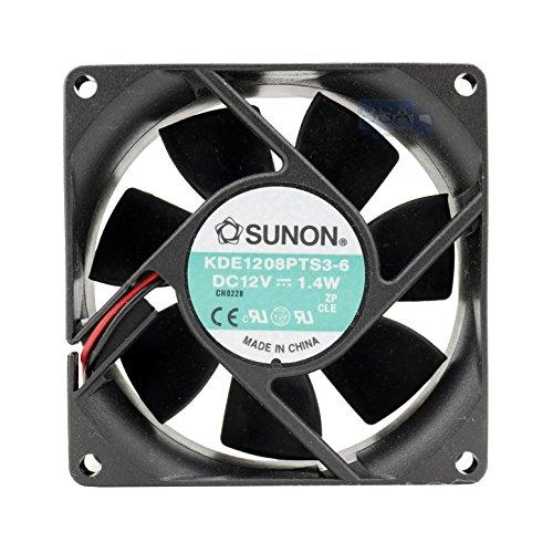Sunon - Ventilador 80 mm 80 x 80 x 25 KDE1208PTS3-6 Refrigeración 12 V 8 cm 2 pines (+/-) 1,4 W Funda negra
