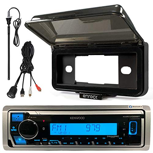 Kenwood Single DIN in-Dash Marine Boat Audio Bluetooth USB Receiver with Black Waterproof Protective Cover Bundle Combo with Enrock USB/AUX to RCA Interface Mount Cable + 45 Radio Antenna Mast