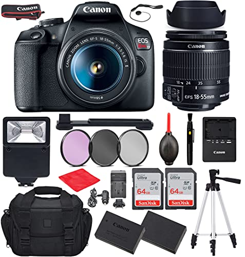 Canon EOS Rebel T7 DSLR Camera with EF-S 18-55mm f/3.5-5.6 is II Lens Bundle, Starter Kit with Accessories (Gadget Bag,...