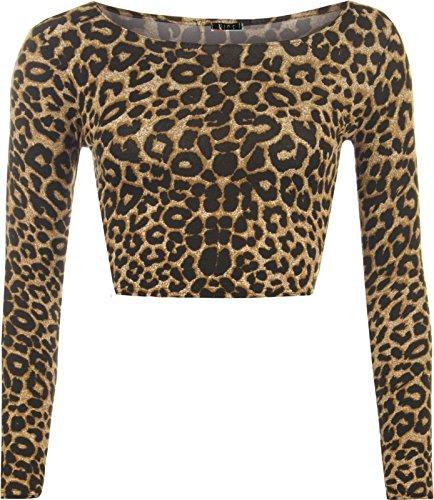 WearAll Damen Cropped Top Lamarmshirt Schwarz * Einheitsgröße Gr. 34-36, Leopardenmuster
