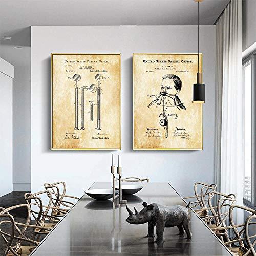 Tandheelkundige boor afdrukken tandheelkundige spiegel Office Decor medische hulpmiddelen tandarts Rubber Dam Canvas schilderij kunst Wall Art foto Home Decor 40x60cmx2 geen Frame