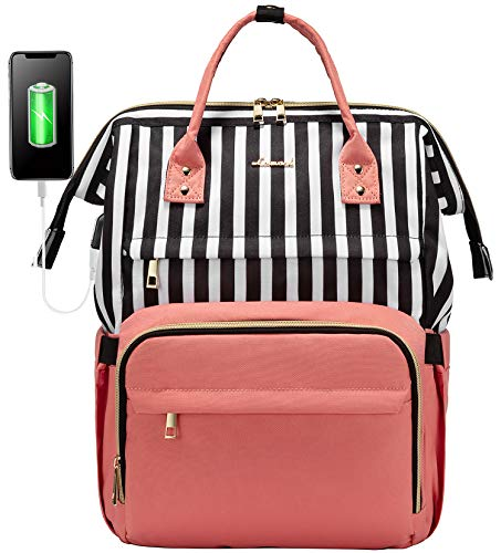 Laptop Backpack Women Teacher Backpack Nurse Bags, 15.6 Inch Womens Work Backpack Purse Waterproof Anti-Theft Travel Back Pack with USB Charging Port (Pink-Stripe)