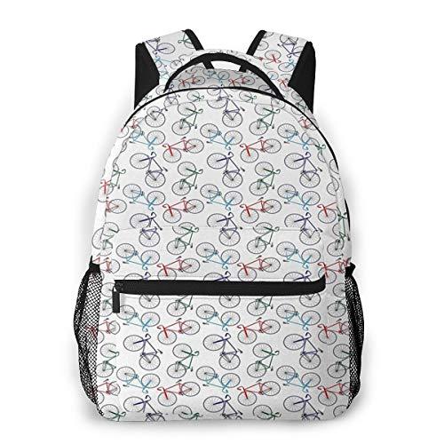 Rucksack Männer und Damen, Laptop Rucksäcke für 14 Zoll Notebook, Unordentliche Rennräder ungeordnet Kinderrucksack Schulrucksack Daypack für Herren Frauen
