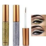 Glitter Liquid Eyeliner, Eyeliner Colorful Set,Metallic Shimmer Glitter Eyeshadow, Long Lasting Waterproof Makeup Eyeliner 2 Colors (#3 Silver / #6 Gold)