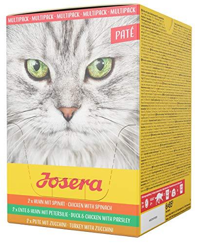 JOSERA Multipack Paté (6 x 85 g)   getreidefreies Katzenfutter   Huhn mit Spinat, Ente & Huhn mit Petersilie sowie Pute mit Zucchini   Super Premium Nassfutter für ausgewachsene Katzen   6er Pack