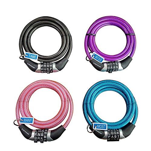 Dunlop Passwort Kabel Lock 6mm Spiral Draht 1,2m 4Charakter