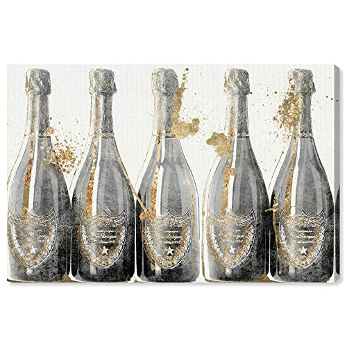 """The Oliver Gal Artist Co. Drinks and Spirits Wall Art Canvas Prints 'Dom Marbles' Home Décor, 36"""" x 24"""", Gray, Gold"""