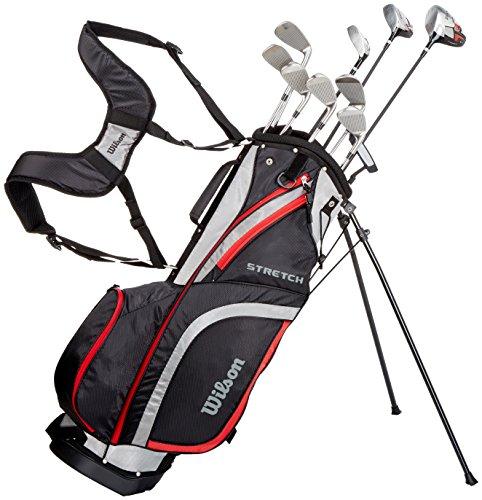Wilson Anfänger-Komplettsatz, 10 Golfschläger mit Carrybag, Herren, Linkshand, Stretch XL, schwarz/grau/rot, WGG157550