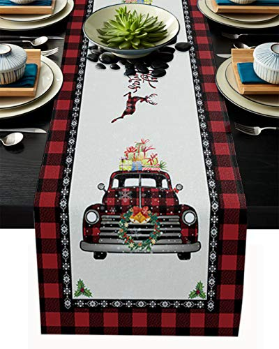 Table Runner for Dining Table Coffee Table Home Kitchen Decorative Merry Christmas Deer Truck Red Buffalo Plaid Cotton Line Table Linens for Indoor Outdoor Party/Holiday/Wedding/Gathering13x90inch