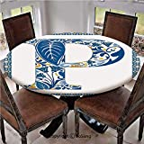 """Elastic Edged Polyester Fitted Table Cover,Floral Motifs Swirls Tropical Rainforest Vegetation Retro Mosaic Motifs Decorative,Fits up 45""""-56"""" Diameter Tables,The Ultimate Protection for Your Table,Blu"""