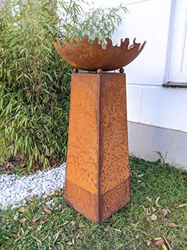 Zen Man Garten patina vuurschaal plantenschaal 50 cm 1 mm rooster met conus H80 cm van metaal roest tuindecoratie