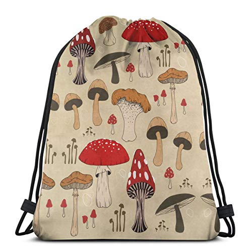 Various Mushroom Art Drawstring Backpack Gym Dance Bag For Girls Women