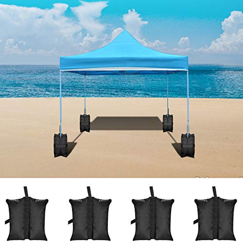 Neewer 4-Packs Weight Bags Leg Sandbags Weighted Base for Anchoring Canopy Tent Sunshade Outdoor Shelter 19.2 x 15.7 x 16.5 inches/49 x 40 x 42 Centimeters (Black,Empty Bag)