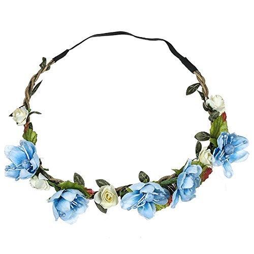 Dorical Stirnband Blumen, 1 Stück Stirnbänder Krone Haarband Kopfband Blume Haarbänder mit Elastischem Band für Hochzeit und Party Haarbänder Band für Frauen Mädchen Mehrfarbig Blume(Blau)