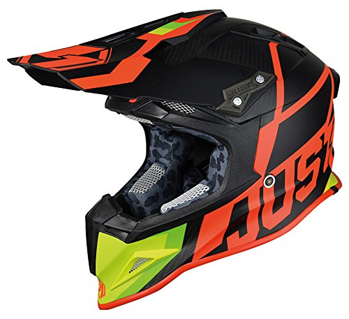 JUST1 J12UNIT, JUST1-Casco J12, colore: Rosso/Lime 56-S uomo, S
