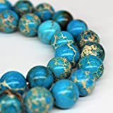 Blue Imperial Jasper Gemstone Loose Beads 8mm 46 Beads Per 15.5' Strand