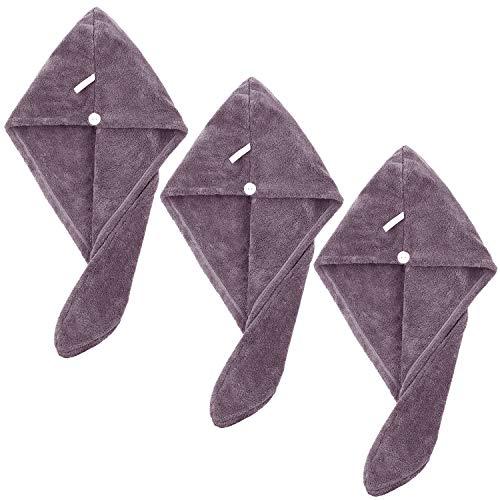 SUNLAND - Asciugamano per capelli in microfibra, super assorbente, turbante, morbido e leggero, confezione da 3 3packx9.8inchx25.6inch Viola scuro