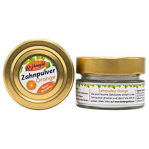 Birkengold Zahnpulver Orange 30 g Glas, 1 Stück, plastikfrei, im Glastiegel verpackt, 100% natürliche Zutaten, keine Schaumbildner und Konservierungsstoffe, Naturkosmetik zertifiziert, vegan