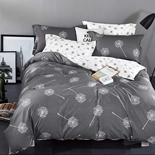KEAYOO Bettwäsche 135x200 Grau Weiß Wendebettwäsche Pusteblume Muster 100% Baumwolle Soft Touch mit Reißverschluss 4teilig Set