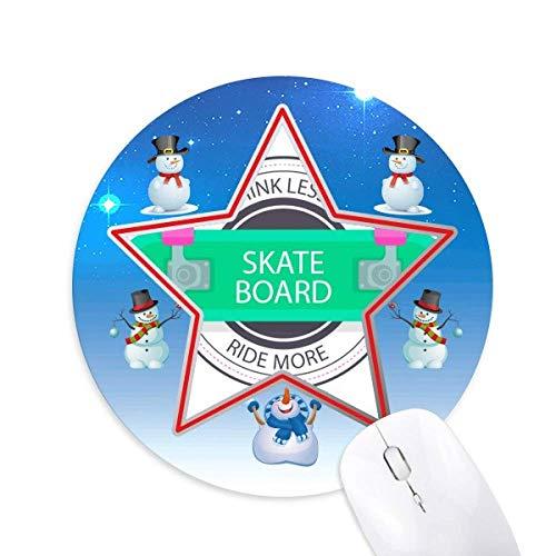 Winter Sport Skateboard Cartoon Muster Schneemann Maus Pad Round Star Mat