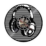 ROMK Chic Reloj de Pared Auriculares Música Arte Vinilo Decorativo Disco Reloj...
