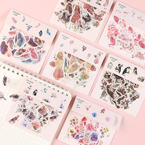 Washi Sticker Pack, 8 Blatt (320 Stück) Pflanze | Vintage | Windspiele | Blütenblätter | Flamingo Scrapbooking Aufkleber für Umschlag, Scrapbook, Etikettentagebuch, Journal Cute Planners Aufkleber