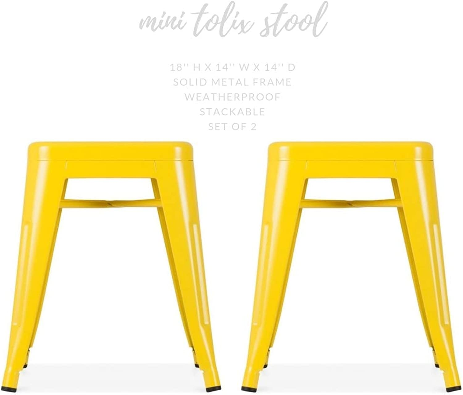 Take Me Home Furniture Mini Tolix Stool Backless Metal, Industrial Style Stool 18  High in Yellow, Industrial Tolix Metal Set of 2, Perfect for Kids