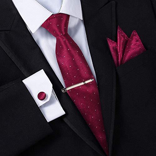 Jorlyen Homme Cravate - Ensemble Cravate en Soie avec Pince à Cravate Argent, Boutons de Manchette et Pochette – Coffret Cadeau-Plusieurs Ensembles