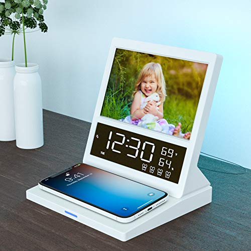 Digital Alarm Clock Radio with Wireless Charging, Bedside Colorful Night Light, Photo Frame, Mirror, LED Display Thermometer Humidity Calendar, Adjustable Brightness, USB Charging for iPhone Samsung