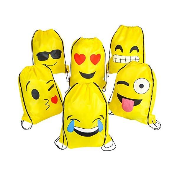 510BPHGmU0L. SS600  - Emoji Bolsas de Cuerdas BESTZY 6PCS Mochilas Petate Emoticonos Emoji Mochilas Petates Infantiles Bolsas Regalo Cumpleaños Deporte Gimnasio Backpack