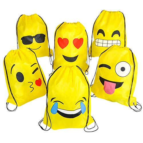 BESTZY Emoji Drawstring Backpack Party Bags 6PCS Beach Swim Bags Birthday Party Favor Bags Party Gifts Filler Bags for Kids Teens Girls and Boys (34 x 43 CM)
