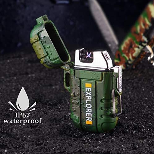 penixon Militär Klasse IP67 Wasserdicht USB Feuerzeug, Elektro-Feuerzeug Dual Lichtbogen Feuerzeug USB Aufladbar Winddichte Flammenlose Elektronische Feuerzeug