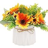 Flores artificiales con jarrón, flores de seda falsas en maceta, arreglos florales de realistas en el interior Decoración de flores para el hogar, dormitorio, mesa de boda Yellow