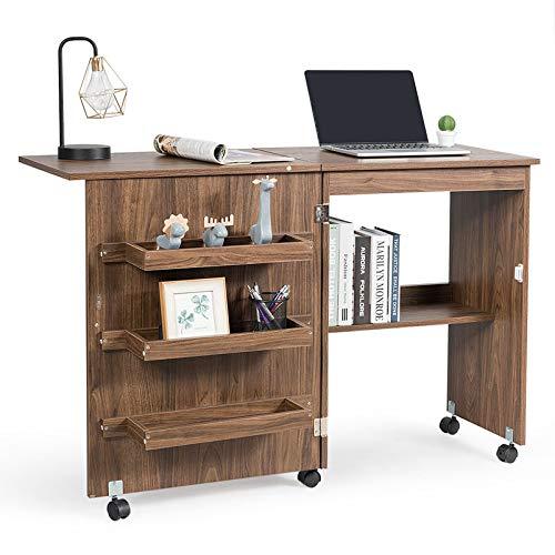 RELAX4LIFE Faltbarer Nähtisch auf Rollen, Nähmaschinenschrank aus Holz, Nähschrank, Mehrzwecktisch, ideal für Wohnzimmer, Schlafzimmer und Arbeitszimmer (Braun)