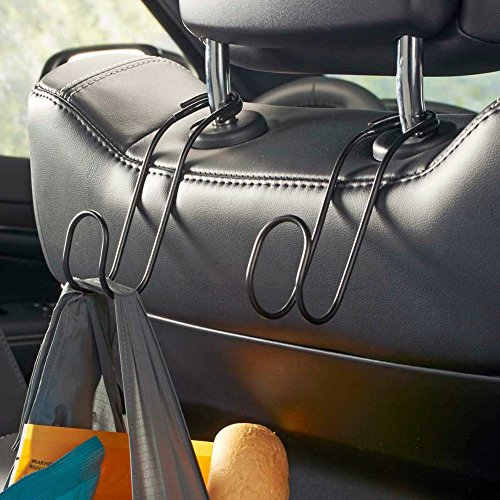 High Road Contour CarHooks Car Headrest Hangers (2-Pack, Black)