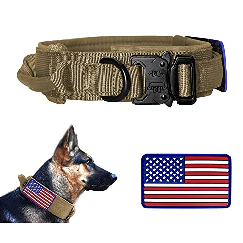 PIOZF Tactical Dog Collar with Handle, Military Dog Collar with Adjustable Heavy-Duty Metal Buckle and Unique USA American Flag Patch, Training K9 Dog Collar for Medium Large Dogs, Brown, XL