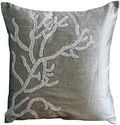 Amazon.com: Lujo Almohada de plata, Ribbon con relieve funda ...