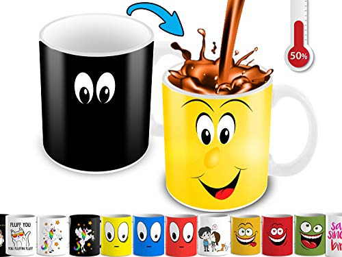 Color Changing Mug | 11 Ounce Heat Sensitive Mug For Cartoon Lovers With A Funny Yellow Smiley Face | Unique Ceramic Heat Changing Mug.