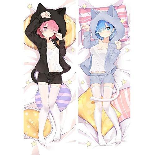 Promini Anime Re Zero Starting Life In Another Rem Ram Cat Dakimakura Hug Body Pillow Cover Cosplay DIY Custom Cushion Otaku Pillow Case Body Pillow Cover Pillowcases 20' x 60'