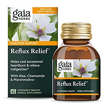 Gaia Herbs Reflux Relief Vegan Tablets Helps Upset Stomach Heartburn & Acid Indigestion - - 45 Count  Pack of 1