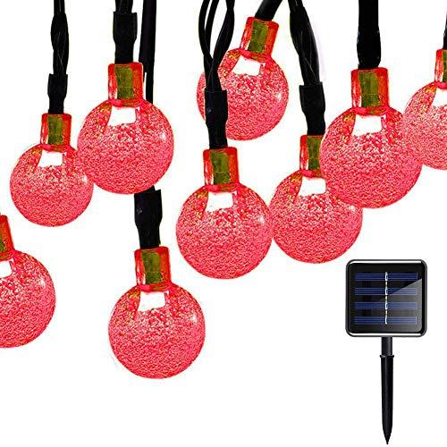 Luces solares al Aire Libre, Luces Cadena Bola Cristal, Luces Cadena Bola Solar 20 pies 30 LED Luces Cadena solares Jardín Patio, Fiestas, Patio