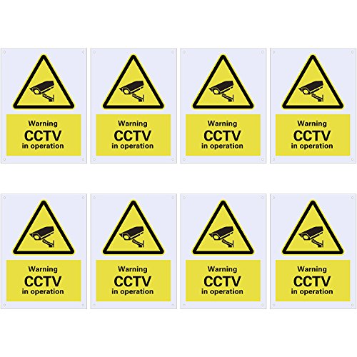 8 Pack Pre-Drilled CCTV Warning Signs CCTV in Operation Signs, Plastic Signs for Outdoor Use, 100 x 75 mm